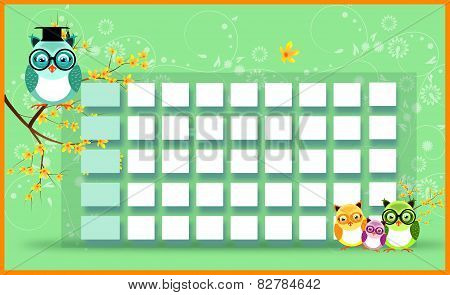 Blank Timetable With Owls