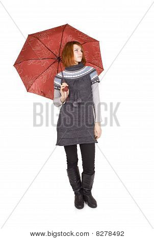 Young Beautiful Girl In Knit Dress With Red Umbrella Standing Isolated On White, Looking Right