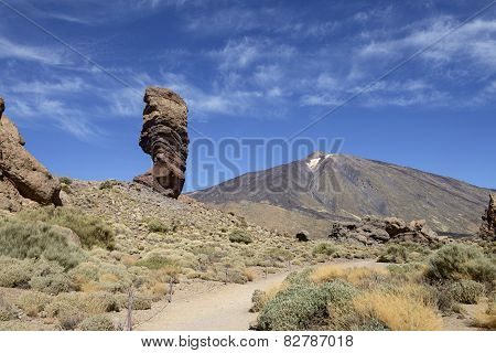 Cinchado Rock And Teide Volcano Peak In National Park, Tenerife.