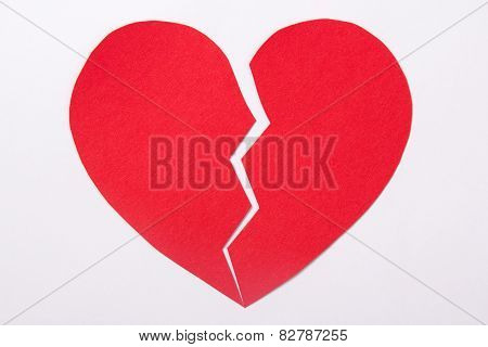 Love Concept - Red Paper Broken Heart Over White