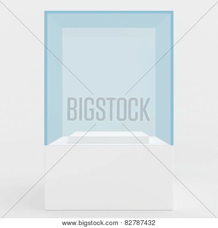 display case. 3d render. isolated on gray background