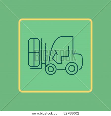 Forklift Truck Flat Line Icon