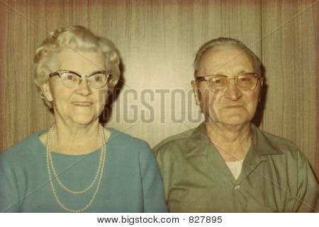 Vintage 1970 Photo Of A Senior Couple