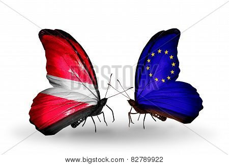 Two Butterflies With Flags On Wings As Symbol Of Relations Latvia And European Union