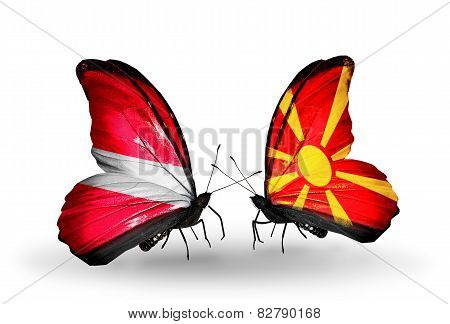 Two Butterflies With Flags On Wings As Symbol Of Relations Latvia And Macedonia
