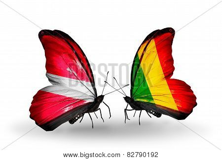 Two Butterflies With Flags On Wings As Symbol Of Relations Latvia And Mali
