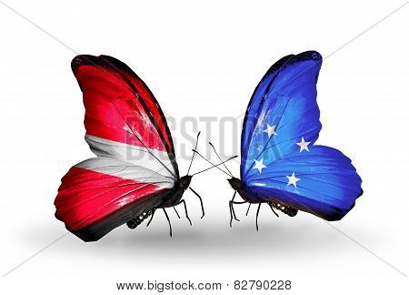 Two Butterflies With Flags On Wings As Symbol Of Relations Latvia And Micronesia