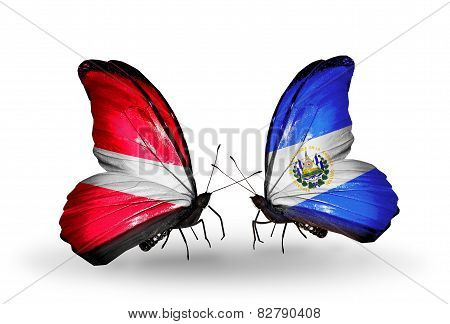 Two Butterflies With Flags On Wings As Symbol Of Relations Latvia And Salvador