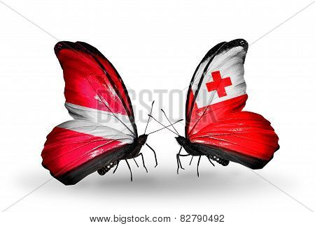 Two Butterflies With Flags On Wings As Symbol Of Relations Latvia And Tonga
