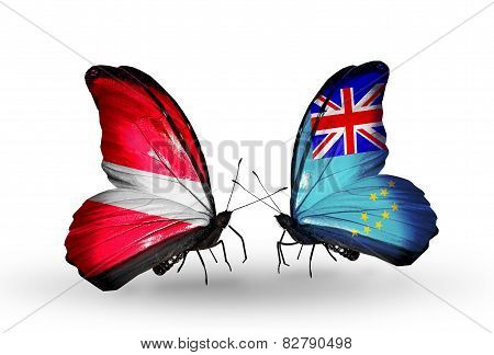 Two Butterflies With Flags On Wings As Symbol Of Relations Latvia And Tuvalu