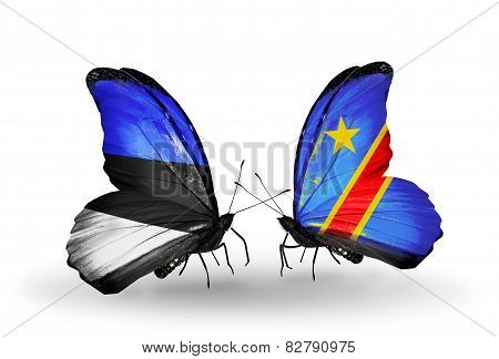 Two Butterflies With Flags On Wings As Symbol Of Relations Estonia And Kongo