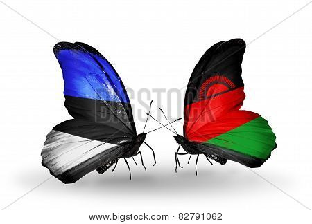 Two Butterflies With Flags On Wings As Symbol Of Relations Estonia And Malawi