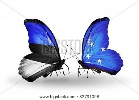 Two Butterflies With Flags On Wings As Symbol Of Relations Estonia And Micronesia