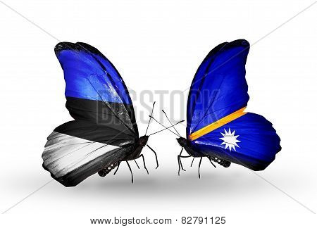 Two Butterflies With Flags On Wings As Symbol Of Relations Estonia And  Nauru
