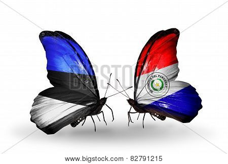 Two Butterflies With Flags On Wings As Symbol Of Relations Estonia And Paraguay