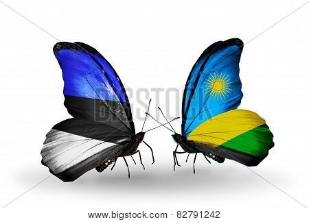 Two Butterflies With Flags On Wings As Symbol Of Relations Estonia And Rwanda