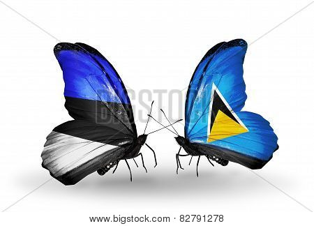 Two Butterflies With Flags On Wings As Symbol Of Relations Estonia And Saint Lucia