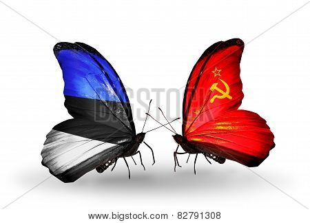 Two Butterflies With Flags On Wings As Symbol Of Relations Estonia And Soviet Union