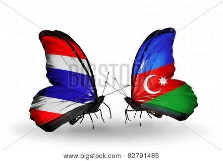 Two Butterflies With Flags On Wings As Symbol Of Relations Thailand And Azerbaijan