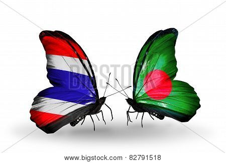 Two Butterflies With Flags On Wings As Symbol Of Relations Thailand And Bangladesh