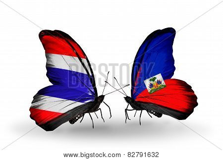 Two Butterflies With Flags On Wings As Symbol Of Relations Thailand And Haiti