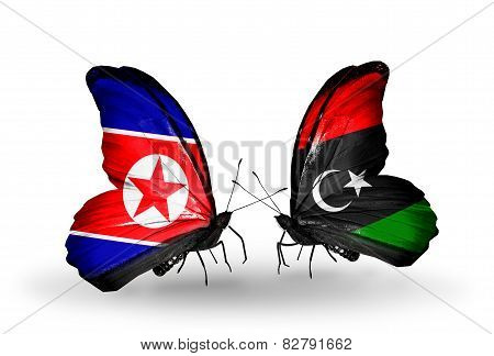 Two Butterflies With Flags On Wings As Symbol Of Relations North Korea And Libya