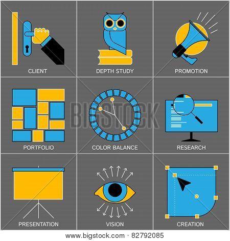 Set of Flat Line Design Icons for Digital Marketing, Promotion, Campaign, Internet Presentation, Pro