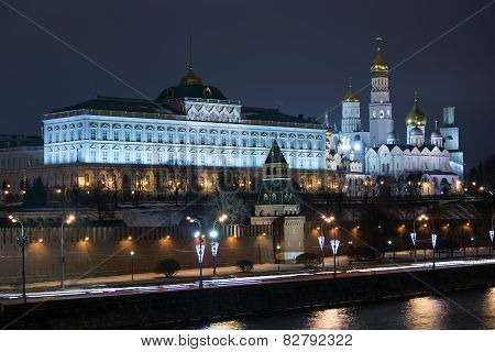 The Moscow Kremlin of winter night