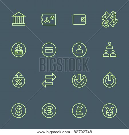 green outline various financial banking icons set