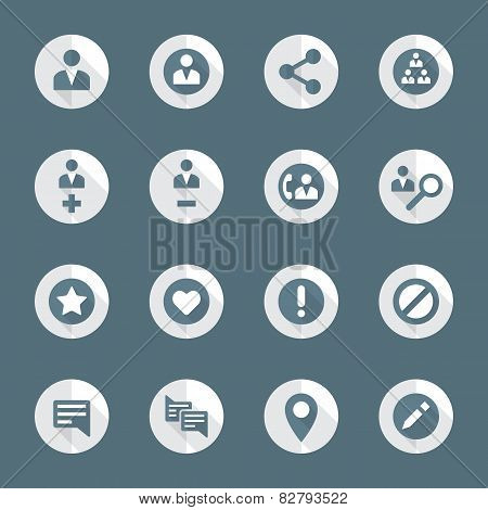 flat style various social network actions icons set