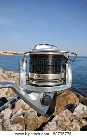 Modern fishing reel.