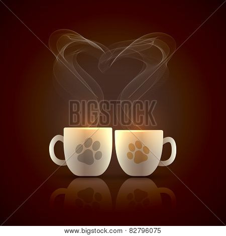 Two cups of hot coffee with heart shaped steam