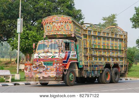 Colorful Indian Truck On A Highway Near Jaipur, Rajasthan, India