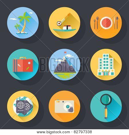 Travel Tourism Vacation Weekend Logo World Trip Symbol International Icon on Stylish Background Mode
