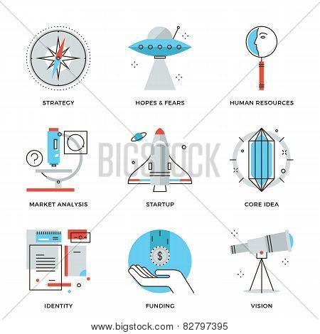 Startup Key Elements Line Icons Set
