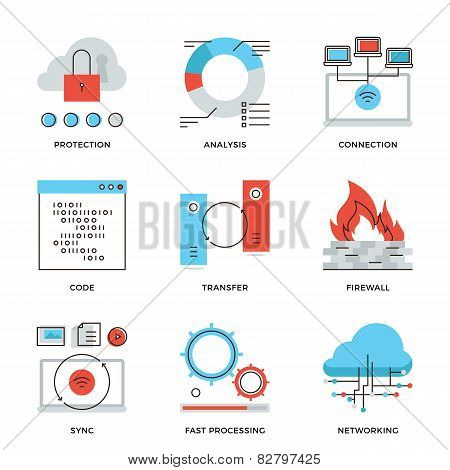 Network And Connection Elements Line Icons Set