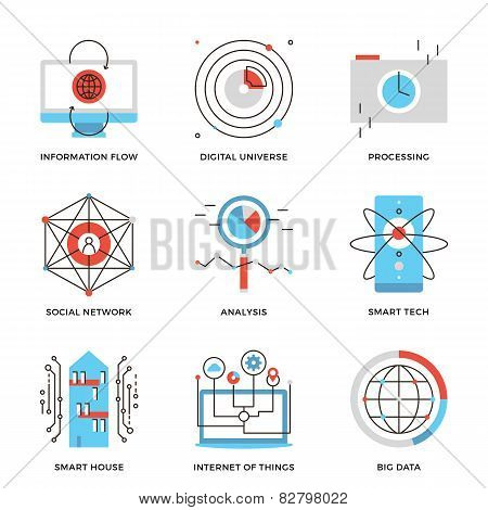 Big Data And Smart Technology Line Icons Set