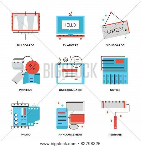 Advertising And Marketing Line Icons Set