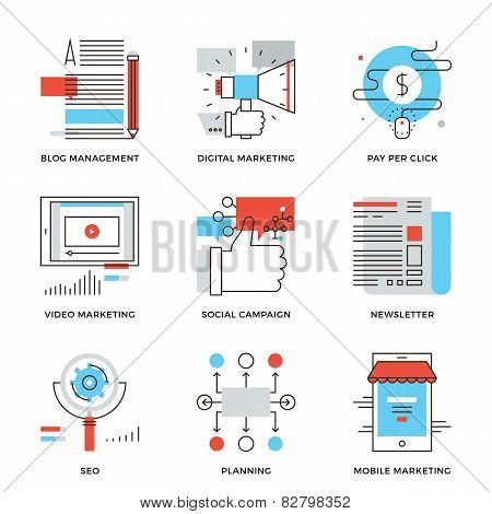 Digital Marketing And Advertising Line Icons Set