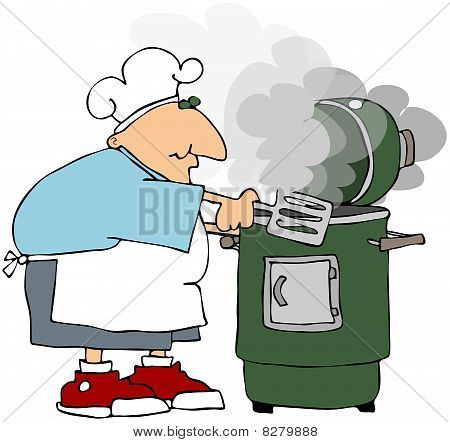 Man Cooking On A Smoker