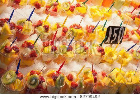 Fruit mix salad at the market