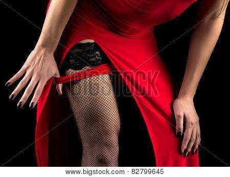 Woman Taking Off Red Panties