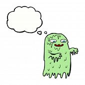 stock photo of gross  - cartoon gross slime ghost with thought bubble - JPG