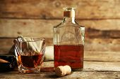 picture of whiskey  - Whiskey on wooden background - JPG
