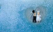 ������, ������: Romantic Couple Man Woman In Frozen Heart Groom And Bride Frozen Glass Ice Flowers Valentines