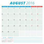 stock photo of august calendar  - Calendar 2016 vector flat design template - JPG