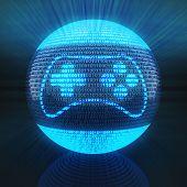 image of binary code  - Gaming icon on globe formed by binary code - JPG