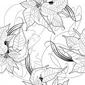 picture of poinsettias  - Seamless pattern with black and white poinsettia - JPG
