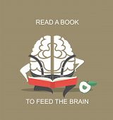 stock photo of wise  - the concept of the human brain sitting and reading a book pumps brain - JPG