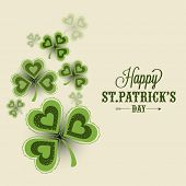 stock photo of saint patrick  - Elegant greeting card design decorated with creative shamrock leaves for Happy St - JPG